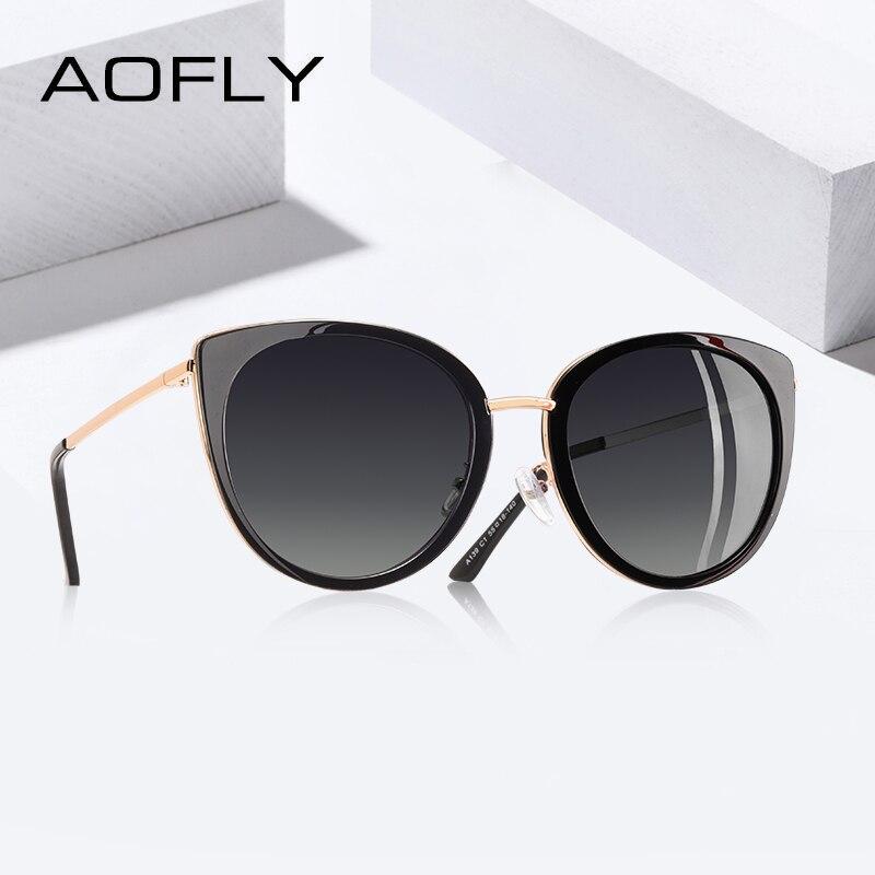 6608adf58 AOFLY 2019 DESIGN DA MARCA Gato Olho Óculos De Sol Das Mulheres Do Vintage  Senhoras Shades Metal Frame Óculos Óculos Polarizados óculos de Sol Feminino