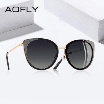 Aofly 2019 Desain Kucing Mata Kacamata Hitam Wanita Vintage Wanita Terpolarisasi Berjemur Kacamata Perempuan Warna Bingkai Logam Eyewear Gafas