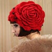 נשים מתוקות קוריאני אופנה אדום מגבעות לבד אנגורה סרוגה כובע החורף Hat עבודת יד פרח אדום כובע