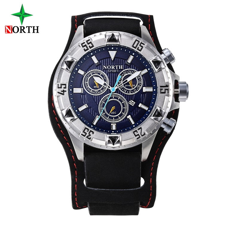 NORTH Top Luxury Men Casual Watch quadrante grande in vera pelle argento nero orologio da polso impermeabile vestito sport maschile orologio unico