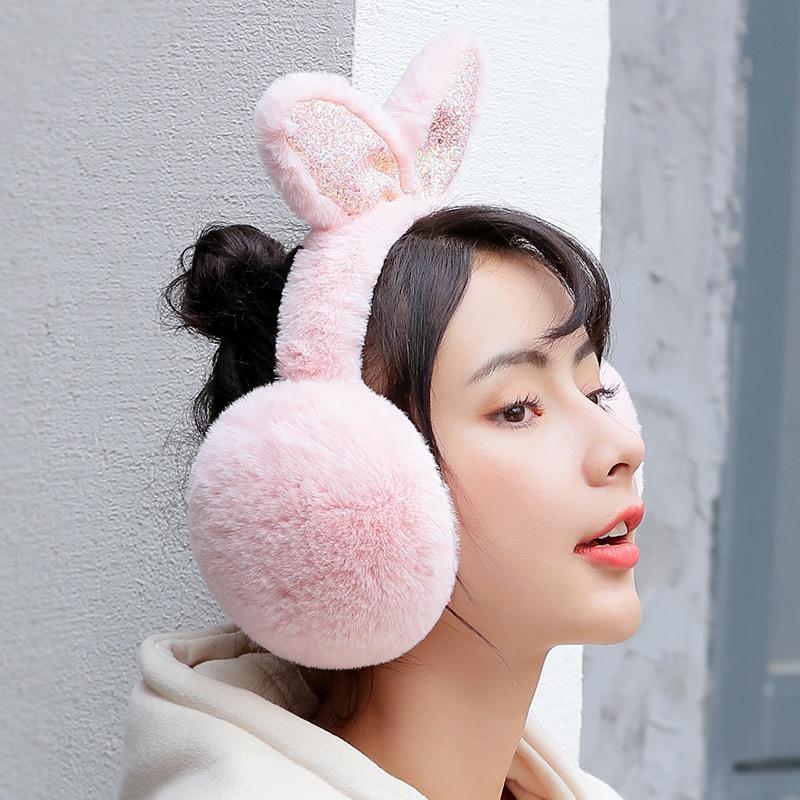 Winter Rabbit Ears Ear Cover Women Warm Earmuffs Knitted Ear Warmers Christmas Women Girls Plush Ear Muffs Earlap Warmer PS-03