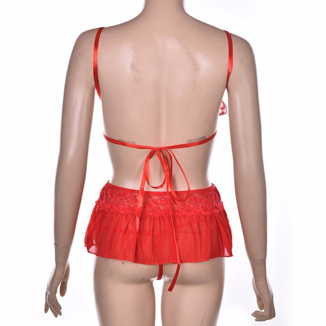 Women Sexy Lingerie Set Dress Lace Sheer Floral Sleepwear Nightwear Underwear G-string and Bandage Bra Tops Sets Sexy Costumes 3
