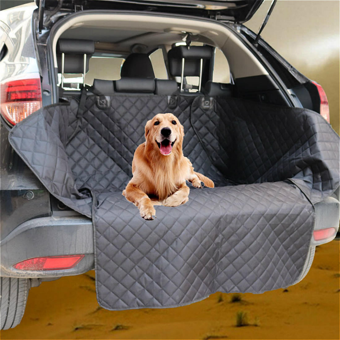 2018 New Extend Width Quilted Dog Cargo Seat Cover for SUV Trunk Universal Durable Pet Waterproof