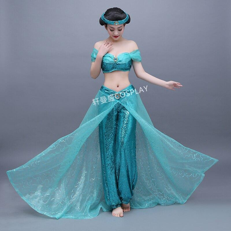 Женские взрослые дамы Жасмин костюм персонажа из мультфильма косплей принцесса светло голубая Принцесса Жасмин Косплей Алладин Косплей