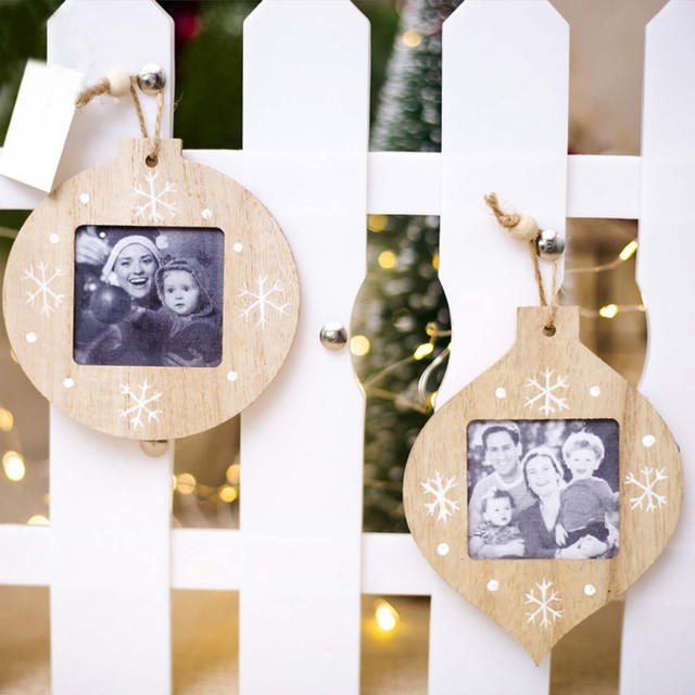Behogar 2pcs Christmas Wooden Photo Picture Frame Christmas Tree