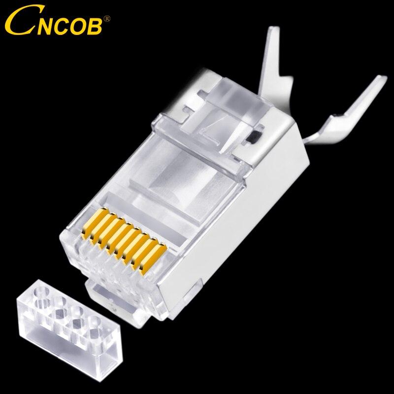 CNCOB Cat7 10 GB, dos piezas de Cable de red Ethernet 50u chapado en oro enchufe Modular RJ45 red pinza cola cabeza de cristal