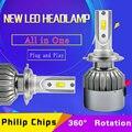 72 W Fichas Philip 7600 LÚMENES COB LED 12 V 24 V H1 H3 H4 H7 Bombilla de Niebla H11 Kit Luces Delanteras Del Coche Luz Delantera Faro Reemplazar xenón