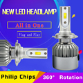 72W Philip Chips 7600 LUMENS COB LED 12V 24V H1 H3 H4 H7 H11 Car Headlight Kit Front Light Bulb Fog Bulb Headlamp Replace Xenon
