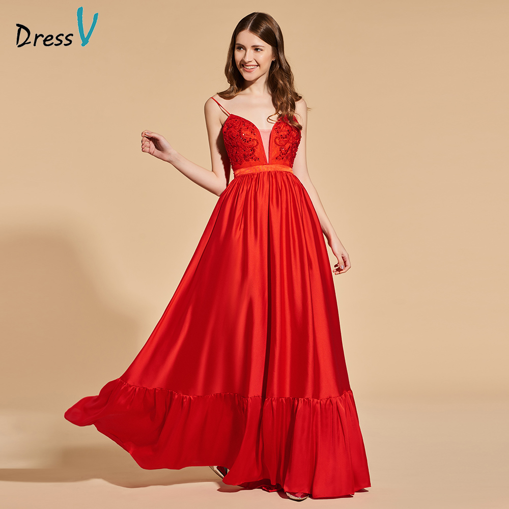 Dressv beading elegant red long prom dress spaghetti straps empire waist simple a-line appliques evening party gown prom dresses