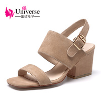 Universe Square High Heel Beautiful Genuine Leather Kid Sude Women Sandals Comfortable Woman Shoes G152