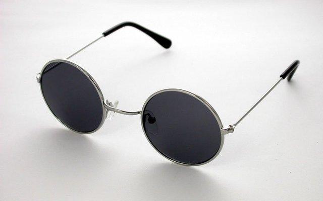 ef08d4646d5 60 s John Lennon Style Round Silver Frame  Black Lens Sunglasses Glasses
