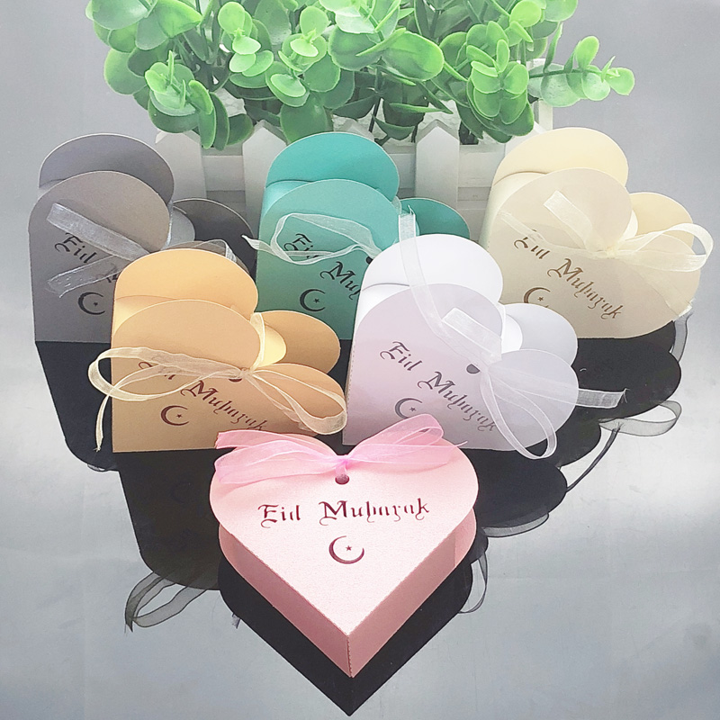 10pcs Heart Eid Mubarak Candy Box Favor Box DIY Paper Gift Boxes Happy Islamic Muslim Al-Fitr Eid Ramadan Decor Party Supplies