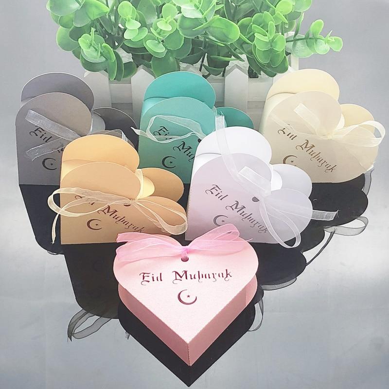 10pcs Heart Eid Mubarak Candy Box Favor Box DIY Paper Gift Boxes Happy Islamic Muslim Al-Fitr Eid Ramadan Decor Party Supplies