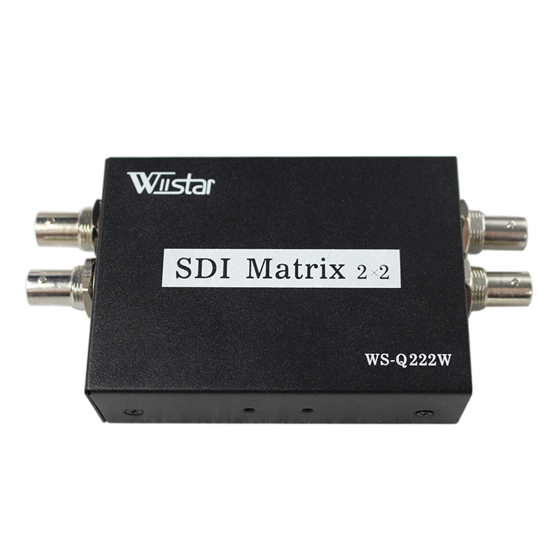 Wiistar New Arrival SDI Matrix 2x2 Switcher Switch 2 way 3G-SDI Sources to two Output With Power Adapter vs0202 2x2 matrix video switcher function audio