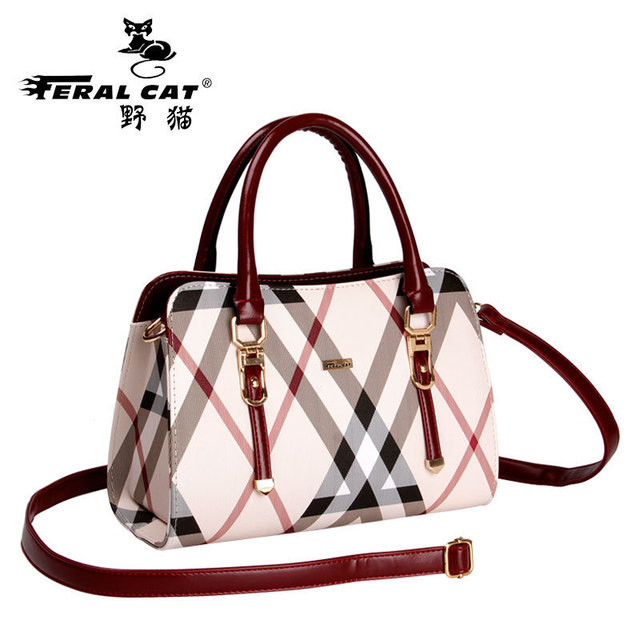 Feral Cat High Quality Tote Authentic Luxury Brands Women Bags New Designer Handbags Womens Plaid Shoulder