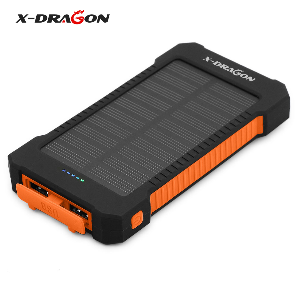 X dragon solar charger 10000mah portable solar mobile for Iphone x portable charger
