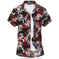 New High Quality Fashion Mens Short Sleeve Silk Hawaiian Shirt Plus Size  4XL 5XL 6XL 7XL Summer Casual Floral Shirts For Men 5z