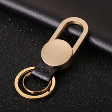 Zobo Simple Pure Copper Key Chain Luxury Men Car KeyChains Buckle Classic Vintage Ring Holder Bag Pendant Fathers Day Gift
