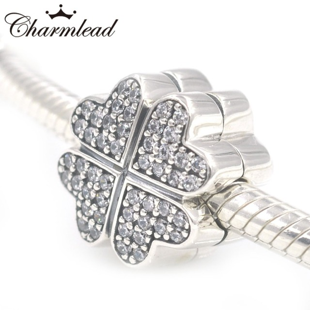0010bc9db Charmlead 925 Sterling Silver Clip Beads Clover Petal Love Heart Stopper  Charm Fit Pandora Charms Bracelet DIY Jewelry Making