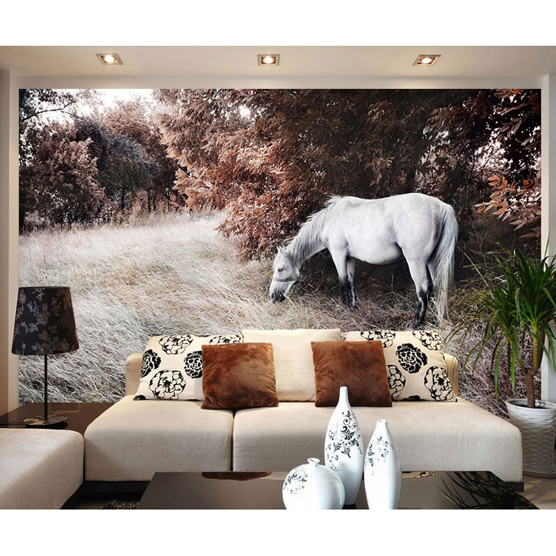 White Horse Photo Wallpaper Mural Home Decor Wall Papers