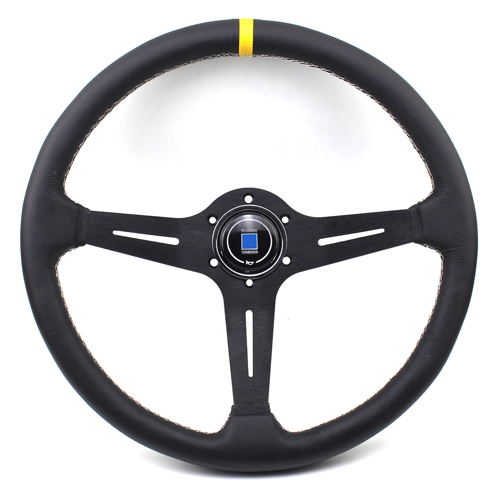 380cm Genuine Leather Light Weight Black Titanium Frame ND Flat Drift Racing Steering Wheel