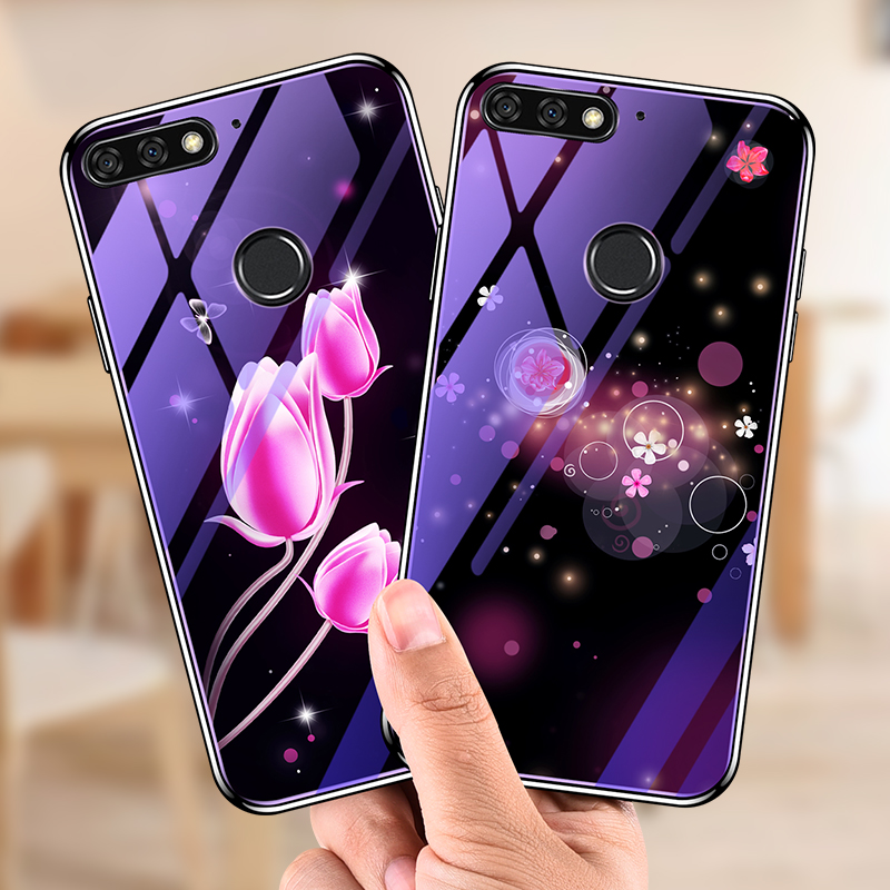 <font><b>Blue</b></font> Light Tempered Glass <font><b>Case</b></font> For Huawei <font><b>Honor</b></font> 7C 7X 7A 8 <font><b>9</b></font> Mate 10 20 P20 <font><b>Lite</b></font> Pro <font><b>Case</b></font> for Note10 Plating Luxury Cover Fundas image