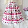 Estilo japonés sweet linda cereza parfait impresión lolita chica tea party falda del a-line plisado falda sk