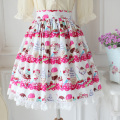 Japanese Sweet Cute Style Cherry Parfait Print Lolita Girl Tea Party Skirt A-line Pleated Skirt SK