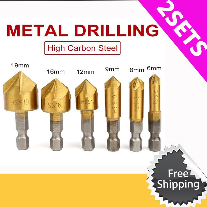 цена на 2/3sets Round shank 5 Flute HSS Hard Metals natural color Five Edge Chamfer Chamfering End Mill Cutter Countersink Drill Bit