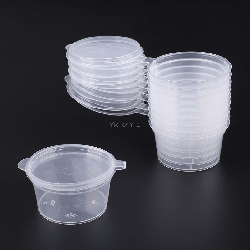 30ml 10pcs Disposable Clear Plastic Sauce Pot Chutney Cups Slime Storage Container Box With Lids Kitchen Organizer