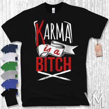 2626334fb1 T-Shirt - KARMA IS A BITCH - lustig Spruch Hipster Funshirt Gr. S M L XL XXL  Harajuku Fashion Classic Unique free shipping