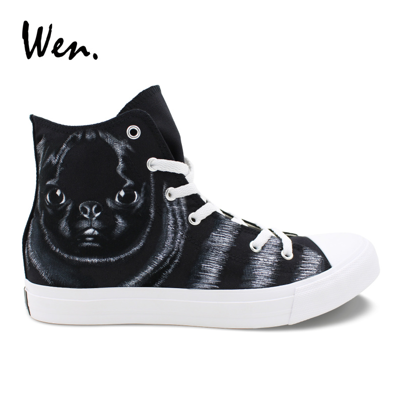 Wen Original Design Black SharPei Pet Dog Hand Painted Animal Sneakers Custom Casual High Top Canvas Shoes for Boys Girls glowing sneakers usb charging shoes lights up colorful led kids luminous sneakers glowing sneakers black led shoes for boys