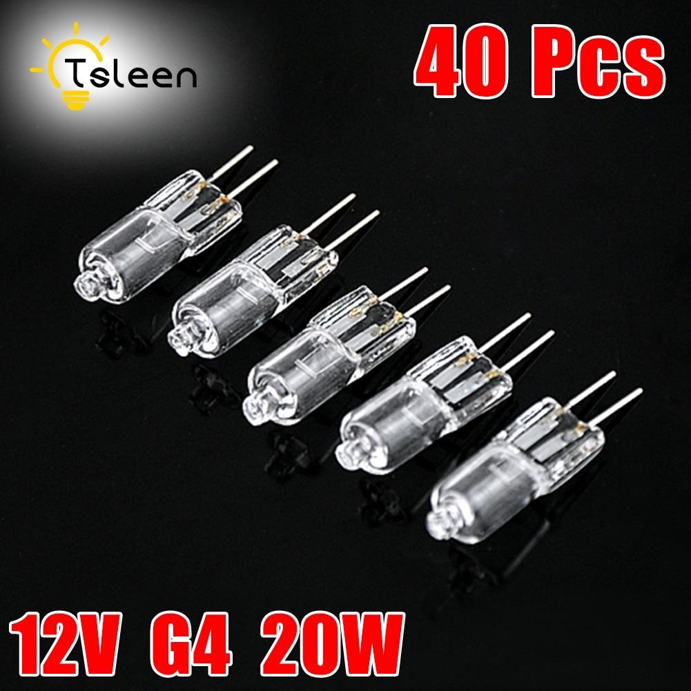 40pcs Mini G4 Energy Saving Tungsten Halogen JC Type Light Bulb Lamp 12V 20W G4 Spotlight For Crystal Chandelier Halogen Lamp 180lm halogen light bulb 12v 20w white