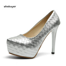 2017 Autumn Women Pumps Silver Wedding Shoes Ultra High Heels Woman Slip on  Platform Party Shoes a1e26a18e011