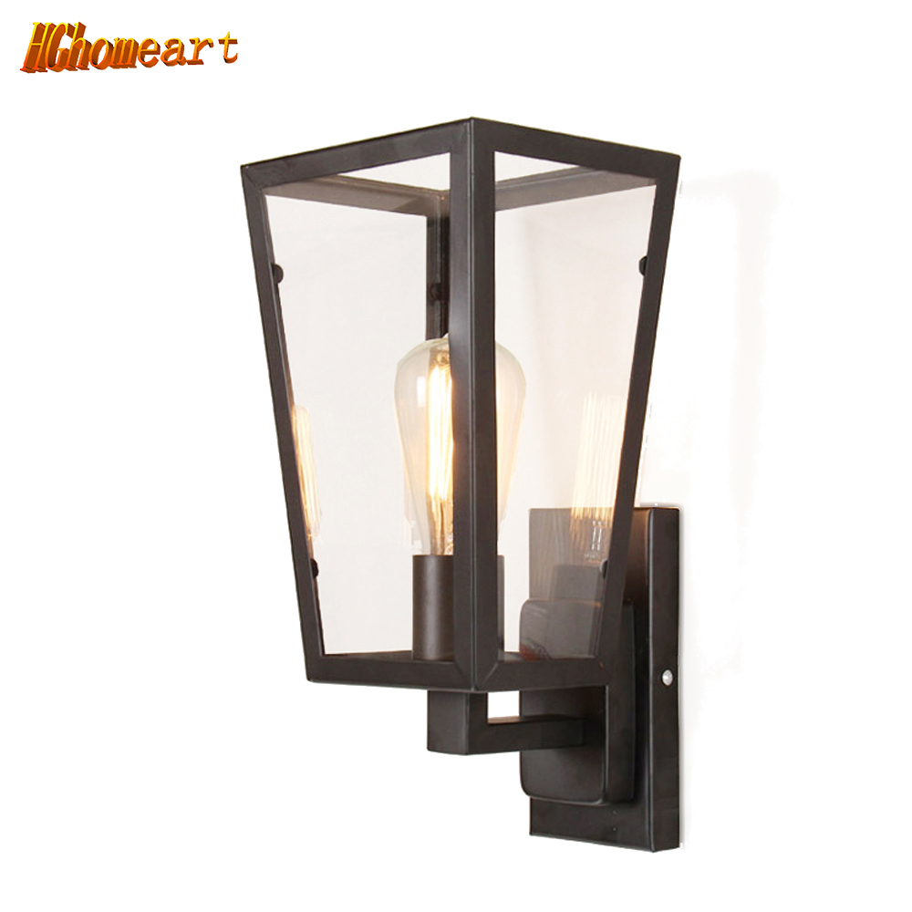 Hghomeart American Rural Retro Wall Lamp Nordic Industrial Loft Sconce Creative  Bar Aisle Bedside Lamp Outdoor Wall Light E27