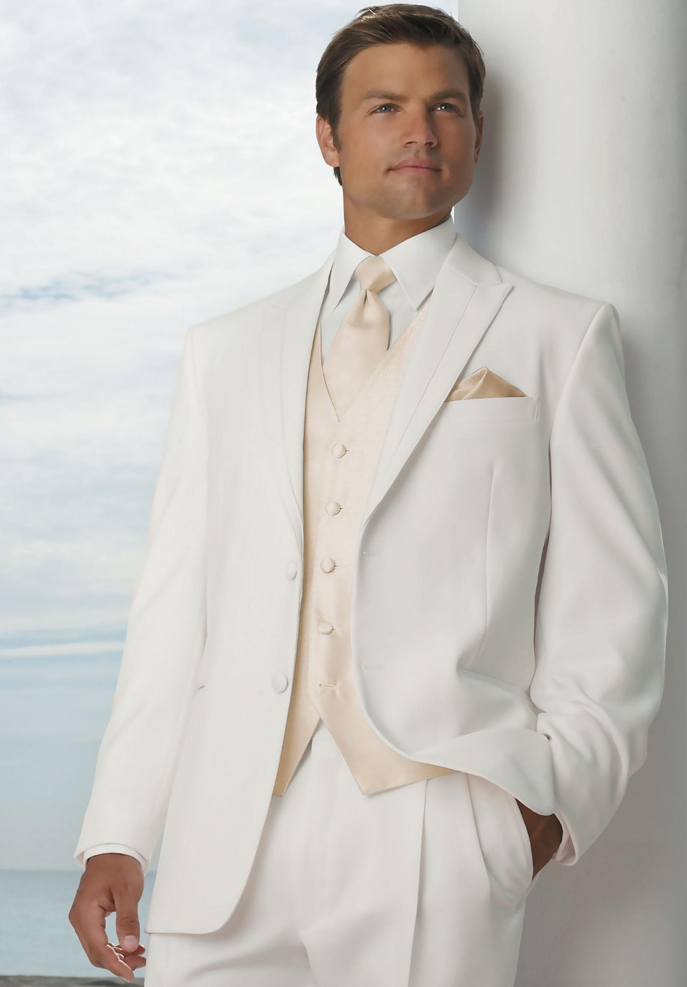 Fashionable Two On Ivory Groom Tuxedos Groomsmen Mens Wedding Suits Formal Dress Jacket Pants