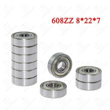 Ball Bearing 608zz 8X22X7 mm Single Row Deep Groove Steel Sealed Flanged Pulley Miniature Wheel 3D Printers Parts