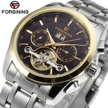 Forsining Mens Watch Automatic Stainless Steel Band Complete Calendar Tourbillion Luxury  Wristwatch Color Black FSG9404M4T3