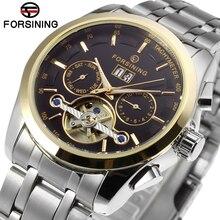Forsining montre pour hommes automatique bande en acier inoxydable calendrier complet Tourbillion luxe montre bracelet couleur noir FSG9404M4T3