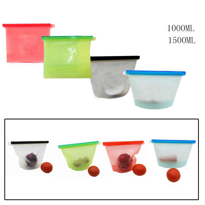 1/2/4/6PCS Reusable Silicone Vacuum Seal Food Fresh Bag Fruit Meat Milk Storage Containers Refrigerator Bag Kitchen Organizer