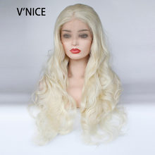 VNICE Synthetic Lace Front Wig Platinum Blonde Body Wave Glueless High Temperature Heat Resistant Fiber Natural Hair Wigs 613#(China)