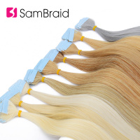 SAMBRAID 22 Inch Tape In Synthetic Hair Extensions 40Pcs/100g/pack Silky Straight Tape PU Seamless Skin Weft 17 Colors Can Buy