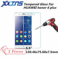 2PCS Tempered Glass For HUAWEI honor 6 plus 6plus honor6 6P PE-TL20 Ascend Screen Protective 5.5 inch cover smartphone toughened