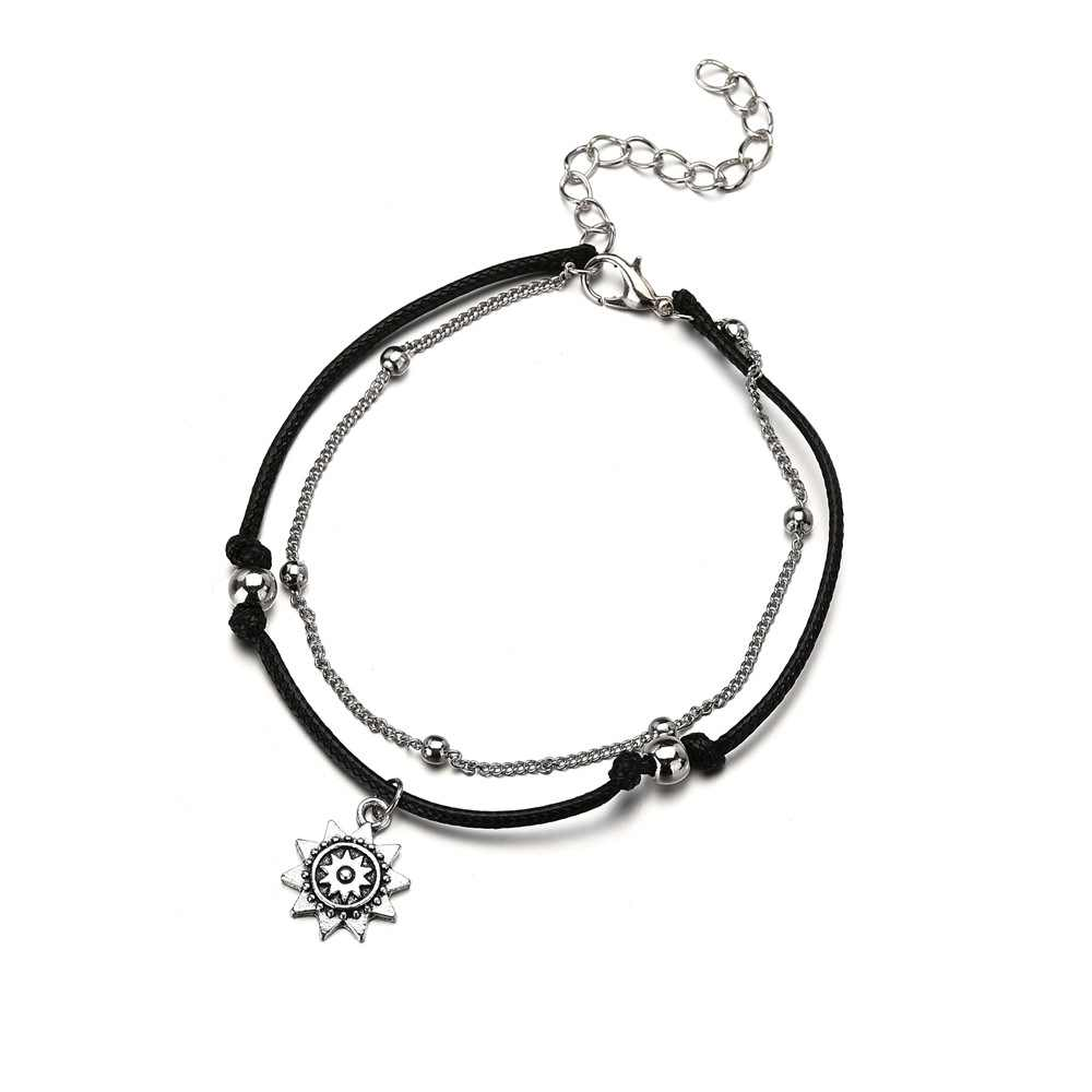 HuaTang Vintage Silver Sun ดอกไม้จี้ชุดผู้หญิงสีดำเชือกฤดูร้อน Anklets เครื่องประดับ Tobillera 4299