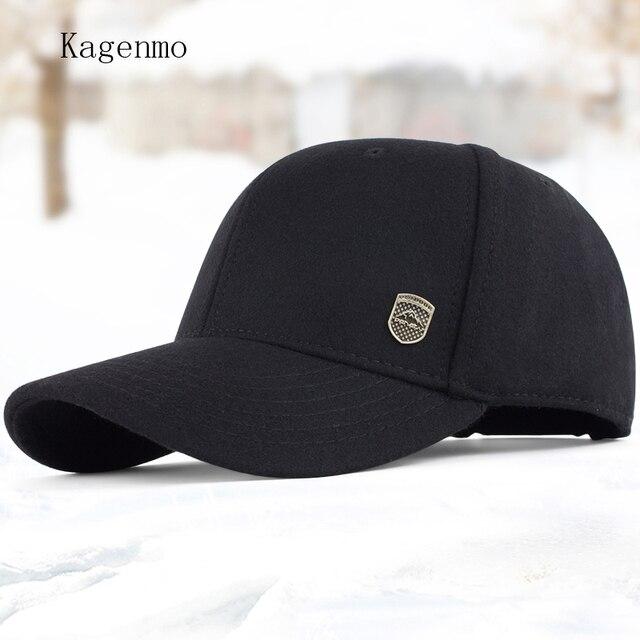 Kagenmo Maschio caldo inverno cappello maschile cappello di lana berretto  da baseball berretto invernale anziani autunno 90d80cda0db2