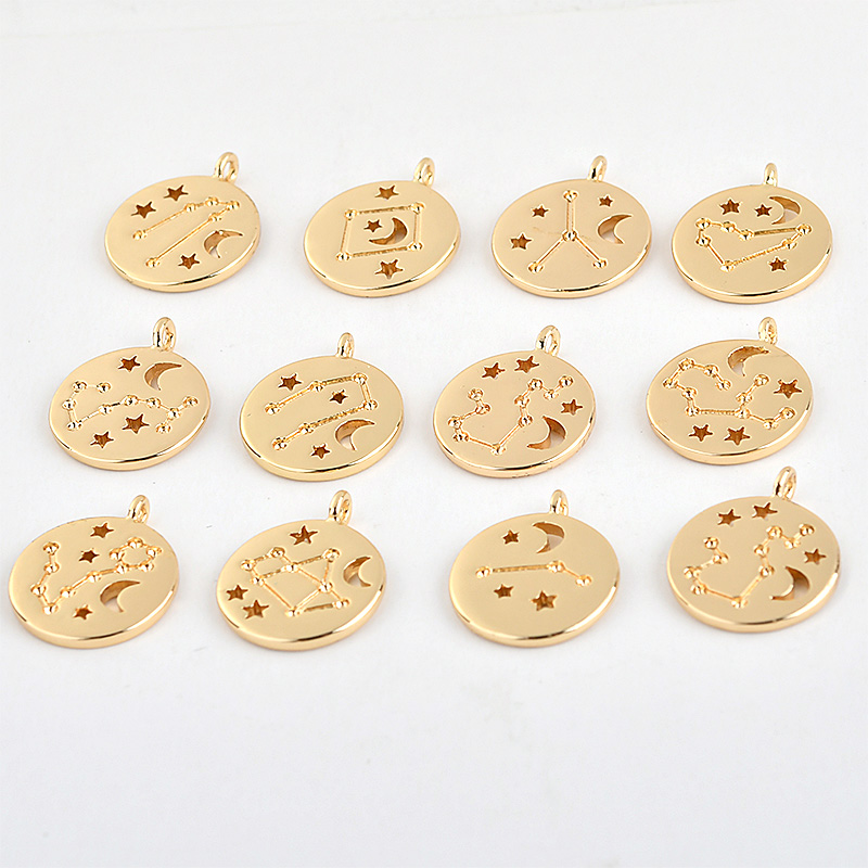 Twelve Constellations Copper Plated 18K Gold Coin Pendant Diy Earrings Necklace Material Accessories
