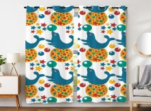 Blackout Curtains 2 Panels Grommet for Bedroom Funny Sea Lion Playing Ball Colorful Star