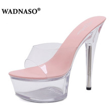 WADNASO New High Quality Shoes Woman High-heeled 15cm SlidesTransparent Bottom Thin Heels Platforms Model Catwalk Eu 34-43