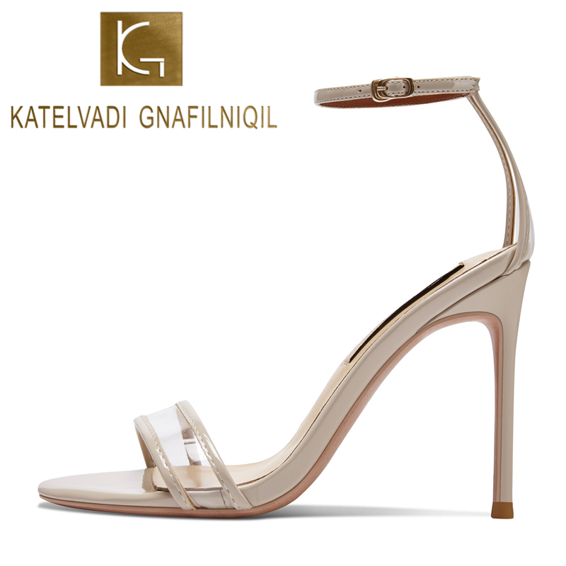 KATELVADI Women Beige Sandals Summer PVC Buckle Strap Ladies Sandals 4 Inches High Heel Sandalie Female