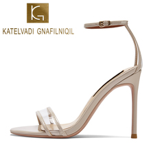 KATELVADI Women Beige Sandals Summer PVC Buckle Strap Ladies 4 Inches High Heel Sandalie Female K-377